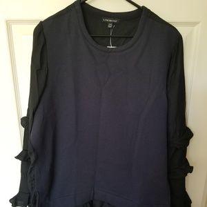Navy / Black Mixed Media top with ruffle sleeves